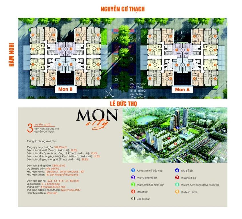 Mon City-Mỹ Đình.DT 60-94m2.Giá từ 1,6tỷ