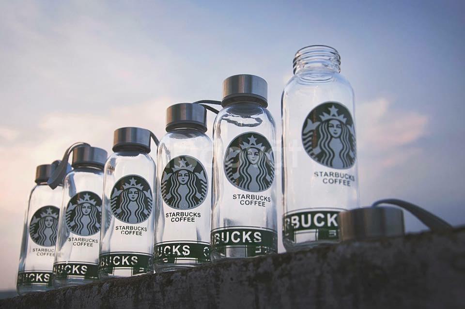 Bình đựng nước thủy tinh Starbucks coffee 400ml