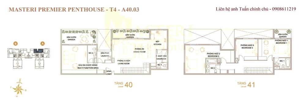Chính chủ bán Penthouse Masteri duy nhất 3 view