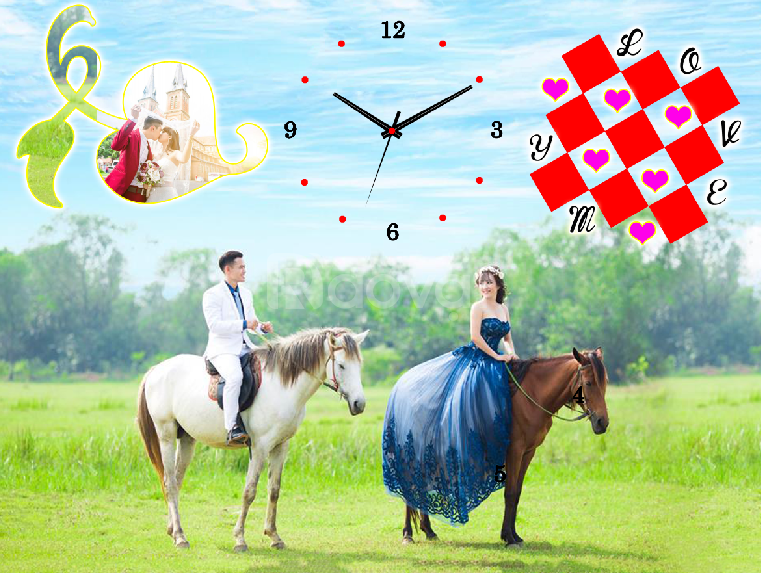 đồng hồ treo tường in hình