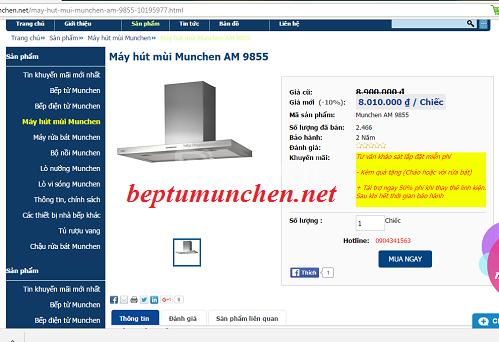 Địa chỉ mua máy hút mùi Munchen AM 9855 uy tín