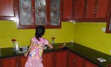 Tủ bếp nhôm vân gỗ, tủ nhôm kính Hà Nội giá rẻ
