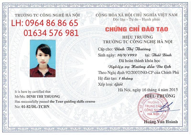 CẤP NHANH CHỨNG CHỈ HDV DU LỊCH 0964868665