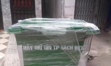 Thùng rác 4 bánh 660l màu vàng chất thải lây nhiễm