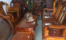 Bộ salon Gỗ Tay 10 tràm bông vàng mặt bo dày