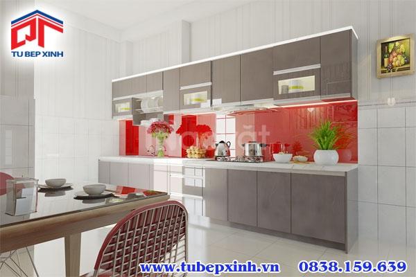 Tủ bếp Acrylic thiết kế cho căn bếp lớn tiện nghi