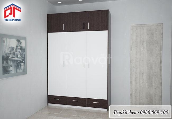 Tủ quần áo vân gỗ Acrylic bóng gương sang trọng