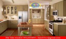 Tủ bếp nhôm kính vân gỗ giá rẻ Hà Nội