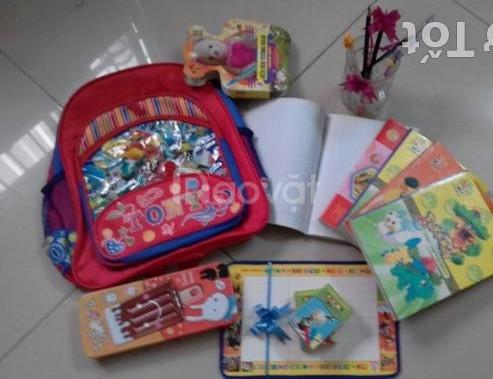 Bộ đồ dùng học sinh: ba lô, tập vở, giấy bút