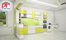 Tủ bếp Acrylic trắng xanh lá