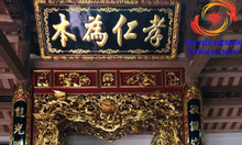Hoành phi câu đối gỗ sơn son thếp bạc thếp vàng
