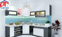 Mẫu tủ bếp phong cách hiện đại màu đen trắng