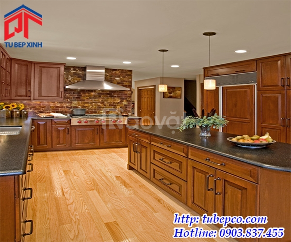 Thiết kế thi công tủ bếp gỗ sồi