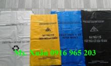 Bao nilon đựng rác có logo y tế xanh, vàng, đen