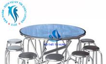 Bộ bàn ăn inox 1 bàn 10 ghế BBA-01
