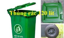 Thùng rác 120 lít xanh, cam, vàng giá rẻ - Xe đẩy rác giá thấp