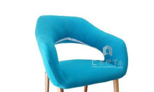CL1222-F | Ghế cafe bọc vải màu xanh chân gỗ Sồi cao cấp giá rẻ