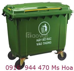 Thùng rác 660 lít, thùng rác HDPE, giá sỉ