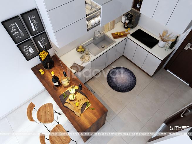 Thiết kế tủ bếp Acrylic có quầy bar - Thiên Furniture