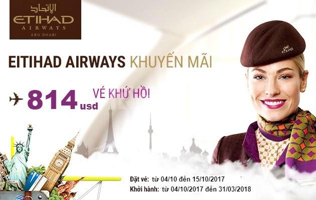 Etihad Airways tung vé khứ hồi rẻ bay châu Âu & Mỹ!