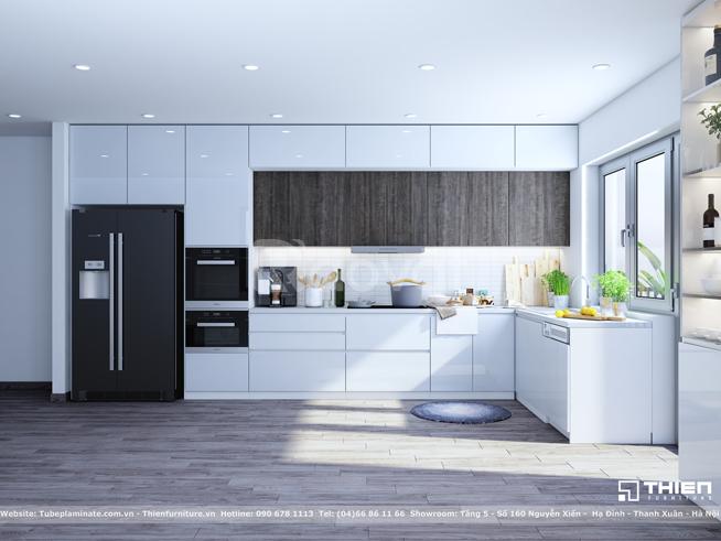 Mẫu tủ bếp Acrylic kết hợp Laminate - Vinhomes
