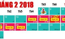 Lịch nghỉ tết dương lịch và tết nguyên đán Mậu Tuất 2018