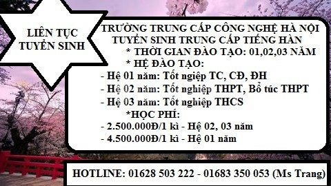 Học trung cấp tiếng Hàn chính quy tại Hà Nội