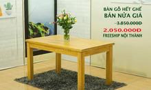 Thanh lý bàn ăn 1.4m xuất khẩu gỗ cao su tự nhiên