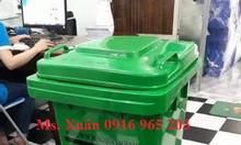 Thùng rác 120 lít màu xanh y tế nhựa HDPE