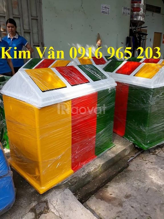 Thùng rác nhựa 3 ngăn 150 lít hình mái nhà, thùng rác nhựa composite