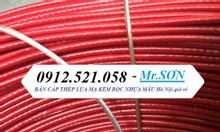 Cáp thép bọc vỏ nhựa màu đỏ, tăng đơ ống inox, cáp inox, xích inox 304