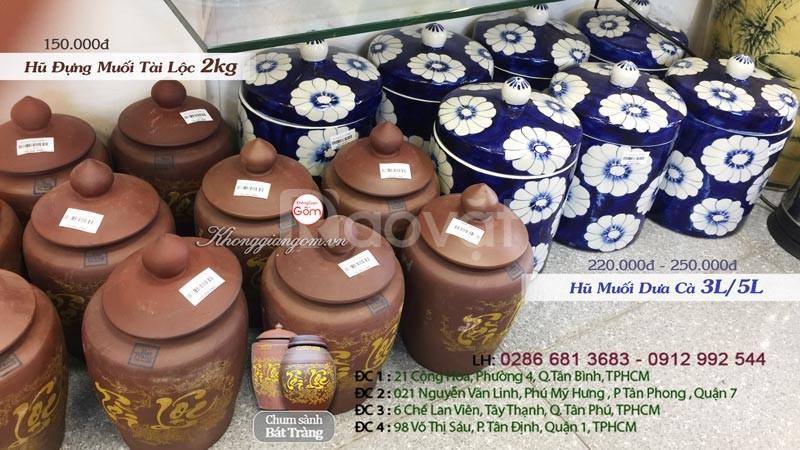 Hũ đựng gạo muối gốm sứ Tài Lộc Bát Tràng 2kg