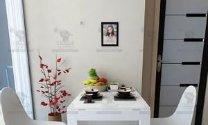 Bộ bàn ăn gấp treo tường cho nhà chung cư gọn nhỏ, kết hợp tranh treo