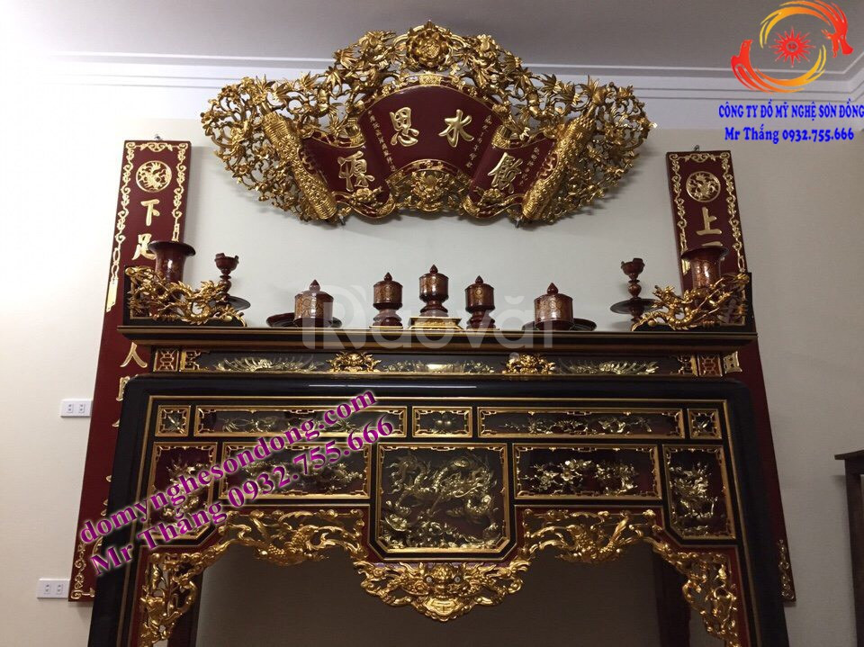 Đồ thờ gỗ sơn son dát vàng (99.99) cho gian thờ tư gia, từ đường