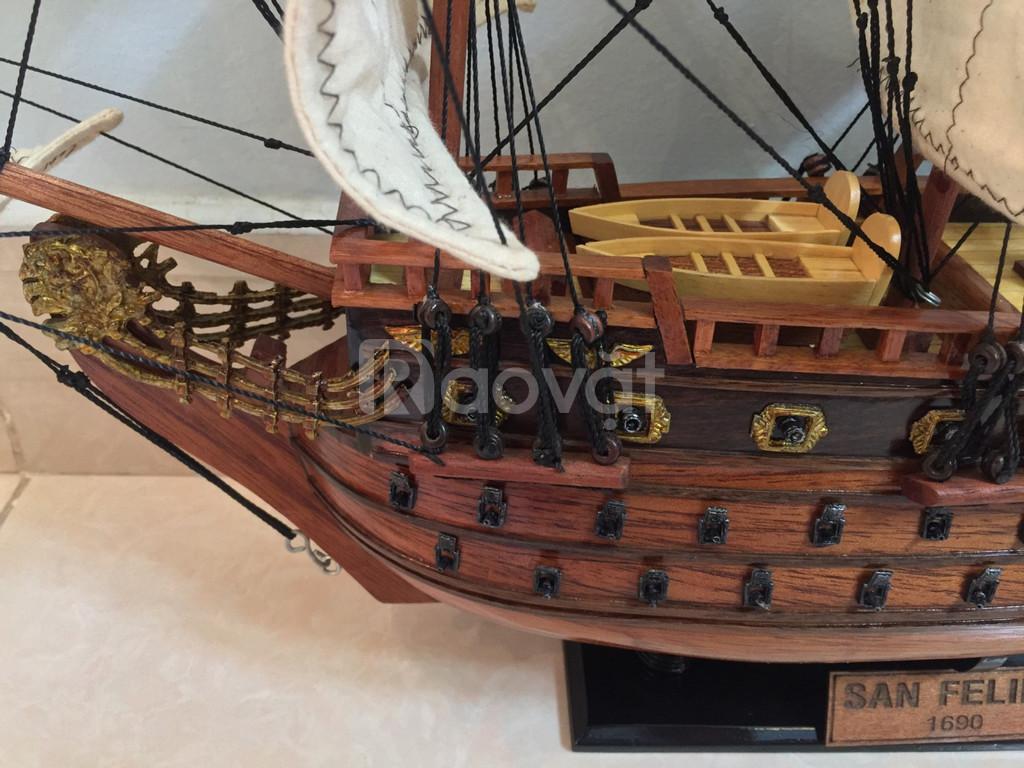 Mô hình tàu chiến cỗ San Felipe bằng gỗ tự nhiên 40cm (ảnh 5)
