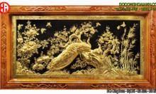 Tranh đồng công mai mạ vàng