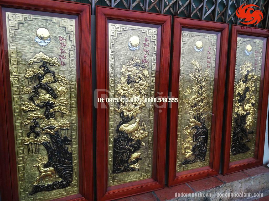 Bộ tranh đồng tứ quý dát vàng giả cổ đẹp, chất lượng