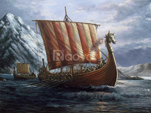 Mô hình thuyền Viking gỗ tự nhiên 80cm (ảnh 6)