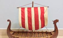 Mô hình thuyền Viking gỗ tự nhiên 80cm