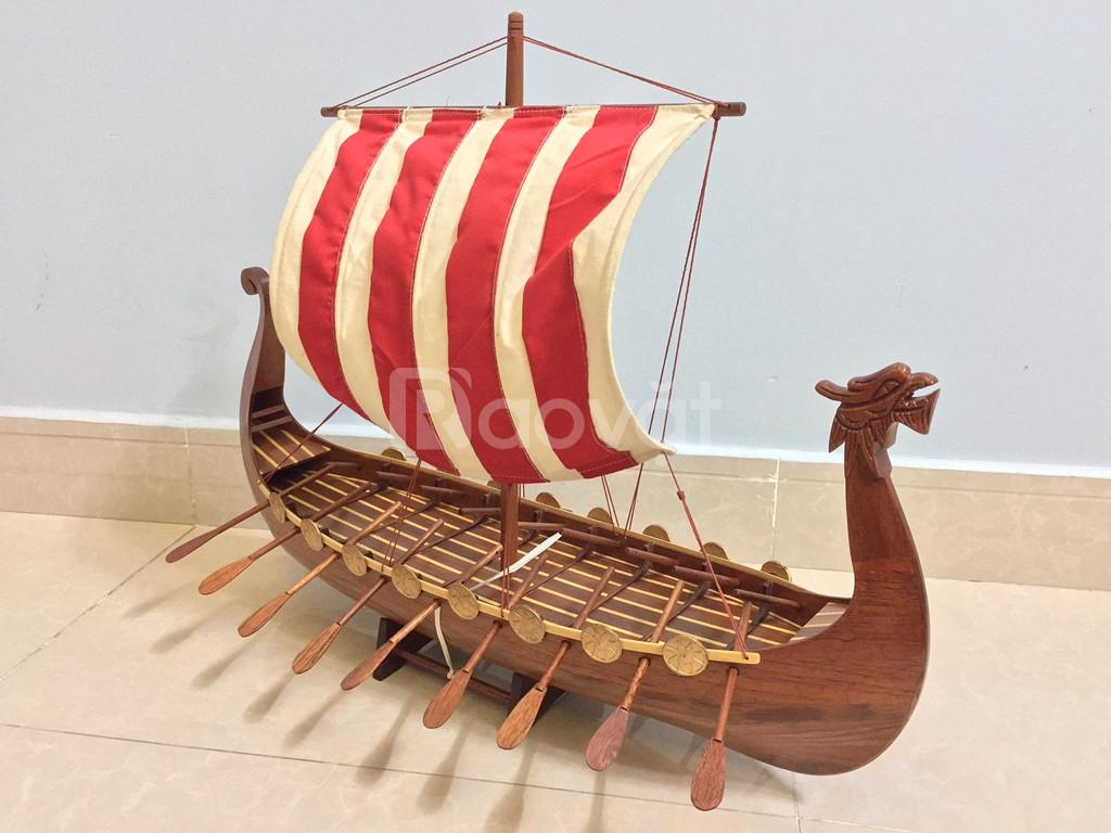 Mô hình thuyền Viking gỗ tự nhiên 80cm (ảnh 3)