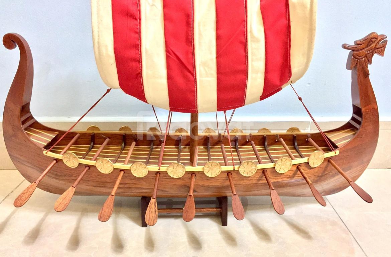Mô hình thuyền Viking gỗ tự nhiên 80cm (ảnh 4)
