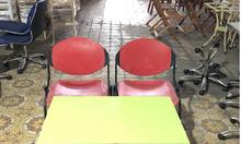 Thanh lý bàn ghế cafe nhựa chân sắt cũ