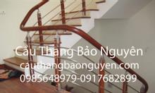 Bán cầu thang inox tay vịn gỗ lim giá rẻ tại Hà Nội