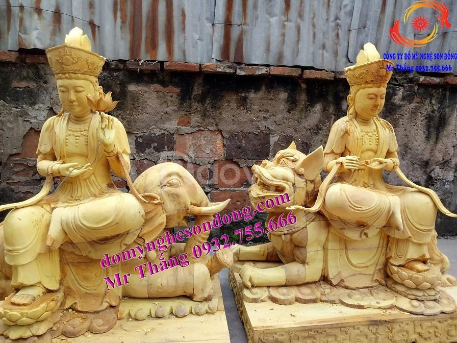 Tượng thờ gỗ, tượng phật gỗ mít lõi sơn son thếp bạc thếp vàng (ảnh 4)
