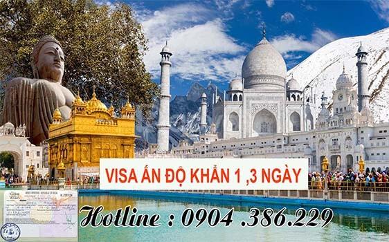 Dịch vụ làm visa đi Ấn Độ khẩn 1 ngày, 3 ngày