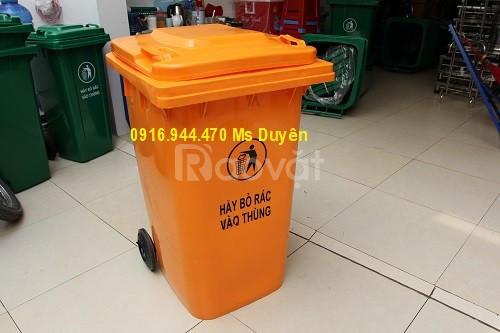 Thùng rác nhựa 120 lít, thùng rác 2 bánh xe giá rẻ