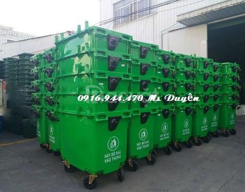 Thùng rác nhựa 660 lít, xe đẩy rác 660 lít, xe gôm rác 660l (ảnh 1)