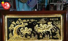 Tranh đồng mã đáo thành công đồng vàng khung xoắn