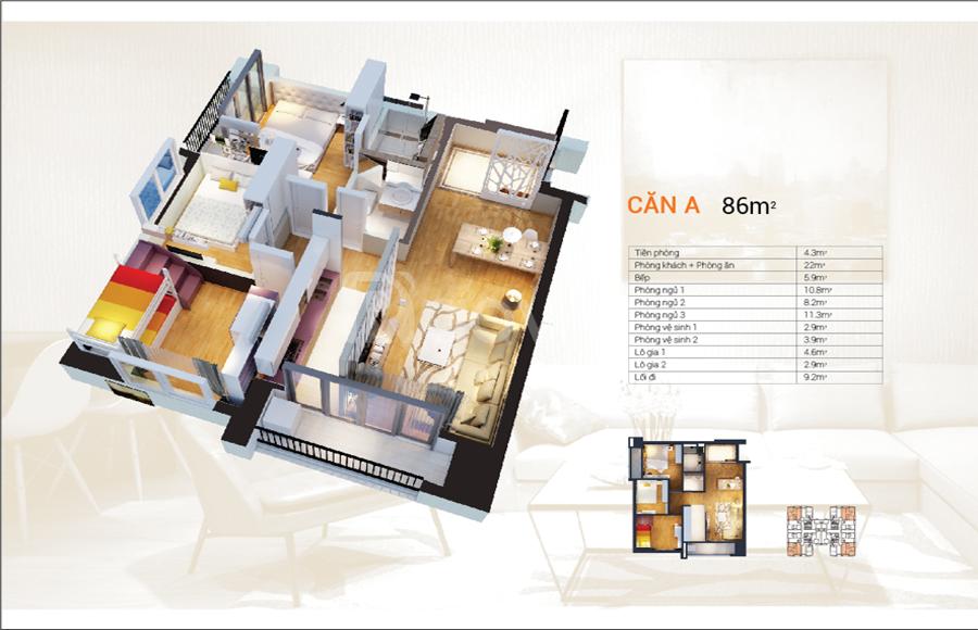 Cho thuê căn hộ HD Mon 86m2 Full NT – NT cơ bản giá rẻ (ảnh 6)