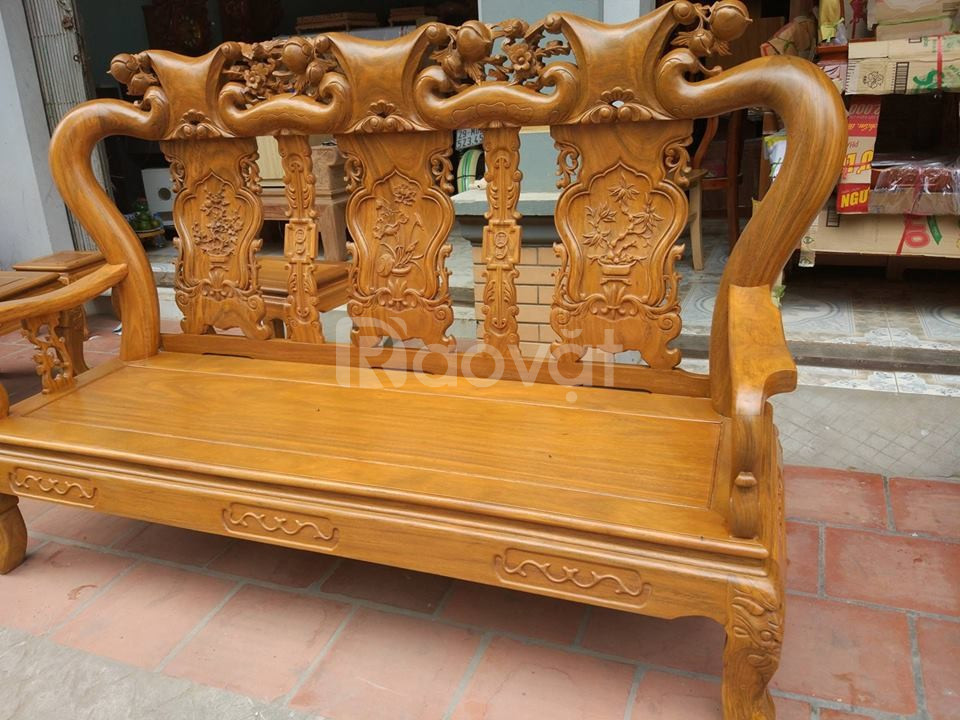 Bộ bàn ghế phòng khách Minh Quốc đào gỗ Lim